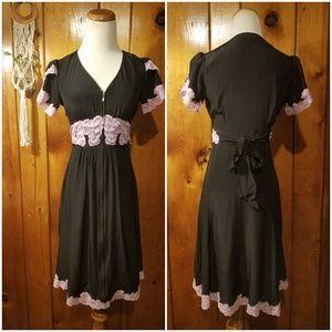 Betsey Johnson Silk 40s Frock Dress